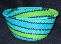 Small African Zulu Telephone Wire Basket Bowl - Spring Rains