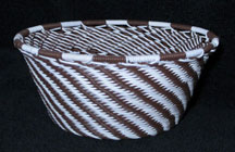 Small African Zulu Telephone Wire Basket/Bowl - Zebra Stripes