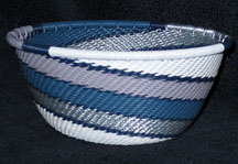 Small African Zulu Telephone Wire Basket Bowl - Winter Sky