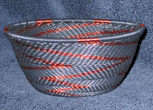 Small African Zulu Telephone Wire Basket Bowl - Black Copper