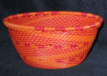Small African Zulu Telephone Wire Basket Bowl - Orange Fantasy