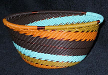 Small African Zulu Telephone Wire Basket Bowl - Retro