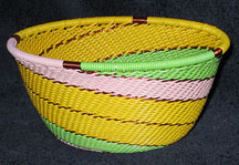 Small African Zulu Telephone Wire Basket Bowl - Pastel Swirl