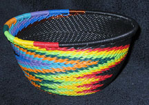 Small African Zulu Telephone Wire Basket Bowl - Black Feathers