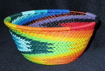 Small African Zulu Telephone Wire Basket Bowl - Reverse Rainbow