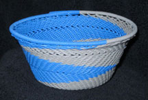 Small African Zulu Telephone Wire Basket/Bowl - Blue Heron