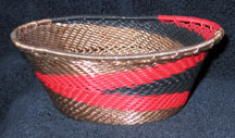 Small African Zulu Telephone Wire Basket/Bowl - Red/Black/Copper