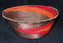 Small African Zulu Telephone Wire Basket/Bowl - Orange/Red/Copper