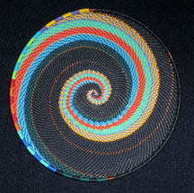 Small African Zulu Telephone Wire Basket Plate - Black Tweed Swirl