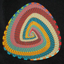 African Zulu Telephone Wire Basket Triangle Plate - Fiesta