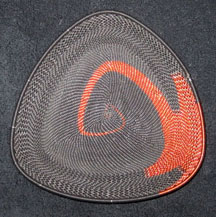 African Zulu Telephone Wire Basket Triangle Plate - Copper Flame
