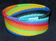 African Zulu Telephone Wire Basket - Tuna Can - Rainbow