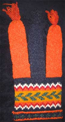 Handmade Jester Folk Pattern Wool Knit Cap/Hat - Chile - Blue/Orange