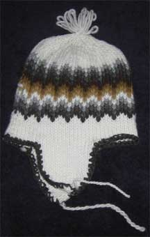 Handmade Folk Pattern Wool Knit Cap/Hat with Ear Coverings- Chile - White Neutrals