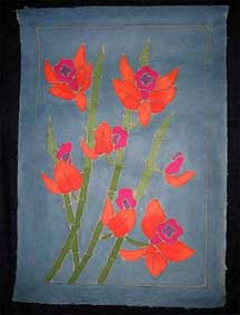 Thai Batik Print on Handmade SAA Paper - Flower #7