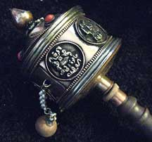 Traditional Handmade Buddhist Prayer Wheel - Hand Held