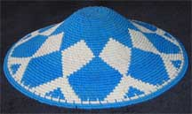Hardwire African Zulu Deep Telephone Wire Dish/Basket - Blue/White