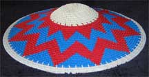 Hardwire African Zulu Deep Telephone Wire Dish/Basket - Red/White/Blue