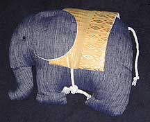 Denim Stuffed Thai Elephant Pillow