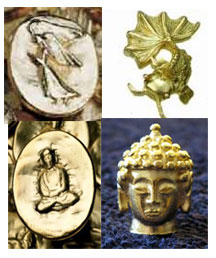 3 Gold-Plated Lead-Free Tokens - Mix & Match - Angels, Buddhas, Goldfish, Pineapple