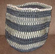 African Sisal Flexible Basket - Black and White Lace with Shells