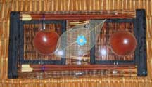 2 Thai Table Settings - Black/Brown Tatami Reed- Placemats/Chopsticks/Rests/Sauce Bowls