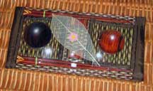 2 Thai Table Settings - Brown Varigated Tatami Reed - Placemats/Chopsticks/Rests/Sauce Bowls