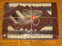 6 Thai Placemats/Coaster Set - Brown Edge, Brown Stripped Tatami Reed