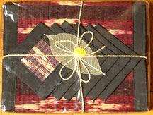 6 Thai Placemats/Coaster Set - Black Edge, Burgundy/Natural Tatami Reed