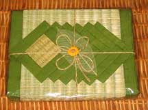 6 Thai Placemats/Coaster Set - Leaf Green/Natural Tatami Reed