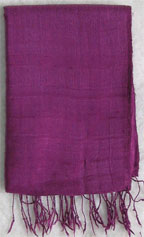 Handmade Thai Raw Silk Dark Purple Shawl
