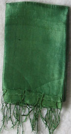 Handmade Thai Raw Silk Grass Green Shawl