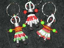 Handbeaded African Zulu Ndebele Mini Dolls - Set #6