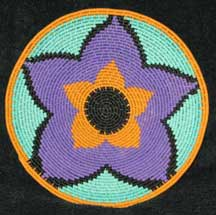 Small African Zulu Telephone Wire Plate/Basket - Purple Flower