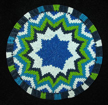 Small African Zulu Telephone Wire Basket/Plate - Blues Greens #3