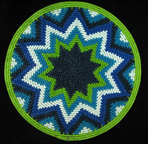 Small African Zulu Telephone Wire Basket/Plate - Blues Greens #4