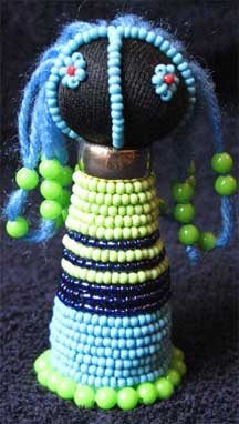 Handbeaded African Zulu Ndebele Doll - Teal/Green