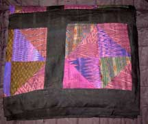 "Thai Handmade Patchwork Silk Quilt - Purples/Blues - 94"" x 78"""
