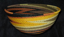 Large African Zulu Telephone Wire Basket/Bowl - Earth Tones #2