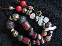 Handmade Recycled Glass African Trade Bead Necklace - Fire & Smoke