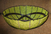 Handmade Modern South African Bead and Wire Bowl - Green & Black