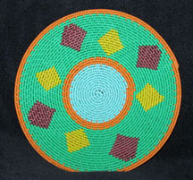 Small African Zulu Telephone Wire Basket/Plate - Copper Diamonds
