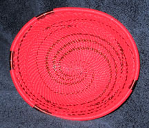 OVAL African Zulu Telephone Wire Basket/Bowl - Red Copper
